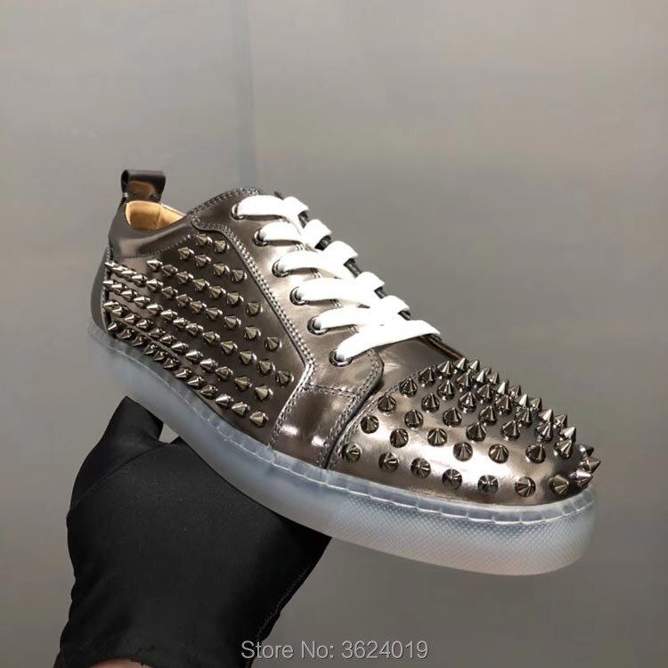 Remaches Planos Casuales Hombre Mocasines Rojo Plata Para Espejo Bajo Fondo Transparente Cl Cuero Calzado Corte Andgz Zapatos De qwFaIa