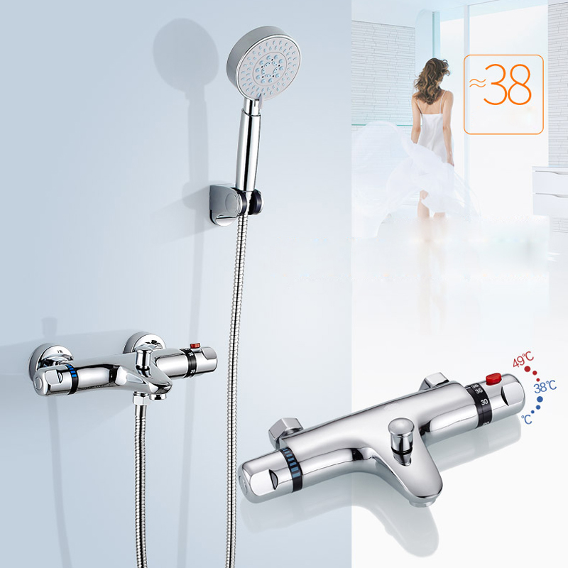 Thermostatic Shower Faucet Set Dual Handle Handheld Shower Mixers Dual Water Functions Handshower Stainless Steel Shower Hose luxury 8 rainfall shower set thermostatic dual handle mixer valve bathroom shower mixers stainless steel shower head handshower