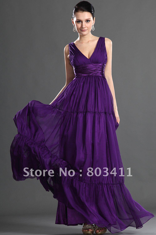 Бесплатная доставка, новое поступление, модное Сексуальное Фиолетовое шифоновое вечернее платье с v образным вырезом
