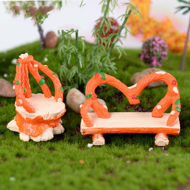 1x Novelty Double Chair and Side Chair Orange Cane DIY Resin Fairy Garden Craft Decorati ...