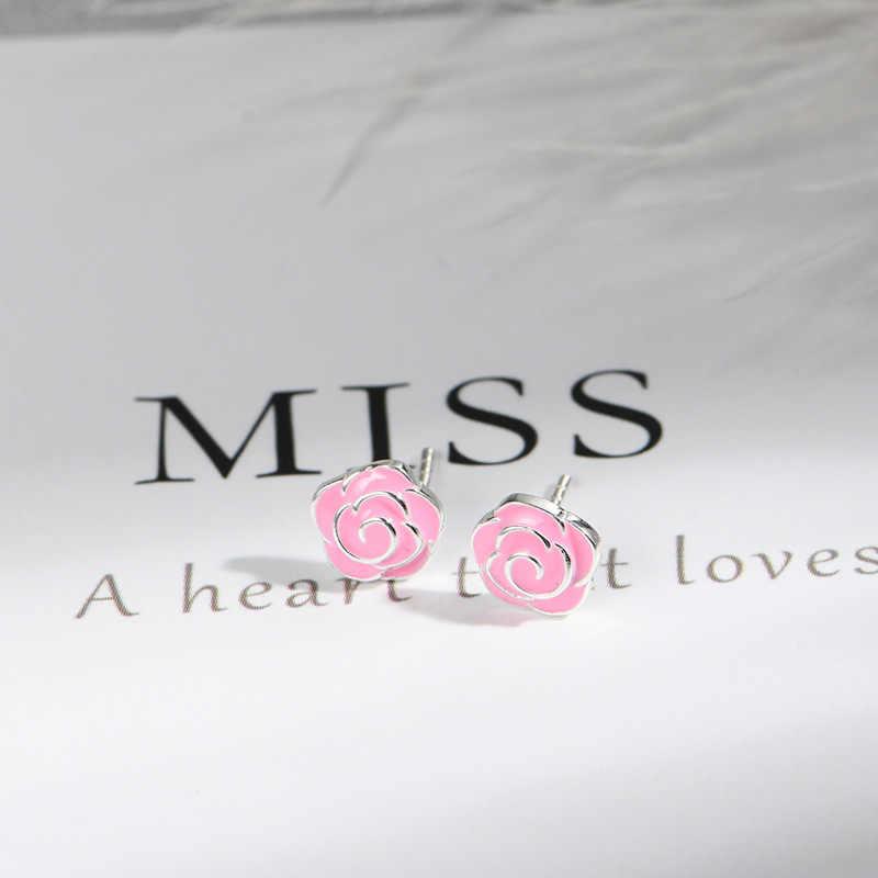 Lidavi 925 เงินสเตอร์ลิงน่ารักสีแดง Rose ดอกไม้เคลือบฟันต่างหูสตั๊ดต่างหูแฟชั่นผู้หญิงเครื่องประดับของขวัญใหม่ VES6249