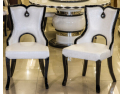 Black chair. Restaurant european-style solid wood dining chair. Fashion eat chair seat