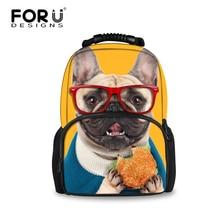 Милые дети 3D животного Фетр рюкзак Для женщин Рюкзак Kawaii Французский бульдог печать для школы Обувь для девочек Колледж студент Bagpack