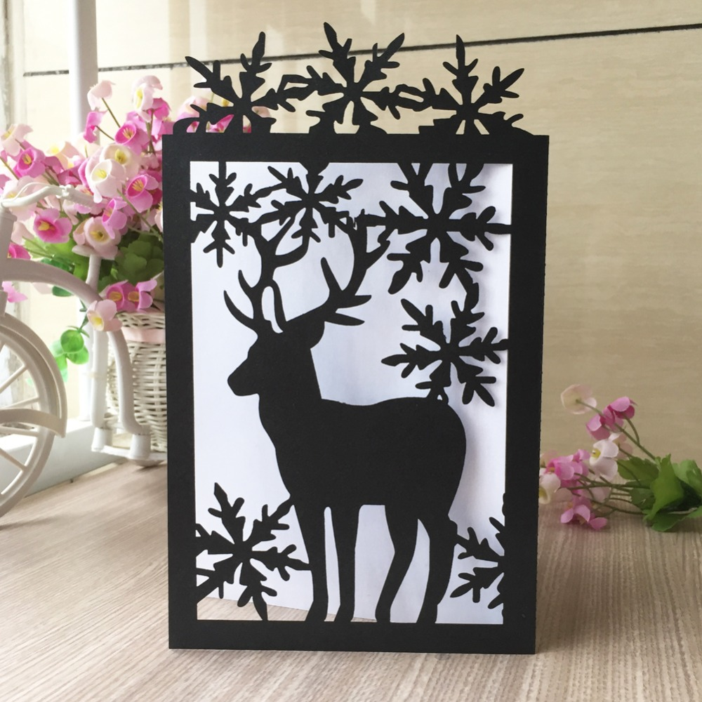 20pcs/lot Christmas Theme Invitations Card Hot Laser Cut ...