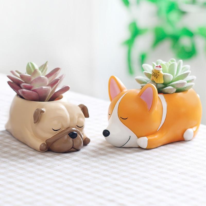 sleeping animal creative cartoon dogs flower vase resin succulent cute students planter pot gift
