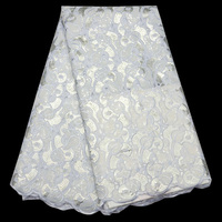 5yards Pc High Quality Handcut African Organza Lace Fabric Luxury Pure White African Sequins Lace