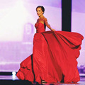 Betty Cantrell Miss America 2016 Wearing Red Celebrity Dresses Sweetheart Chiffon Formal Evening Celebrity Dresses