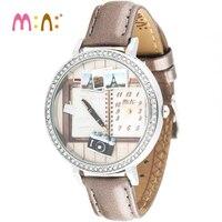 高級ブランド腕時計女性ファッション防水3dブックブレスレットレディースクォーツ腕時計時計女性時間2017レロジオfeminino