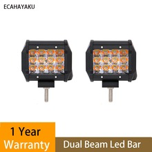 ECAHAYAKU 2x 36W 4Inch Triple Row White Amber Color Changing 5 Modes Led Work Light Bar for jeep truck ATV SUV 4x4 Fog