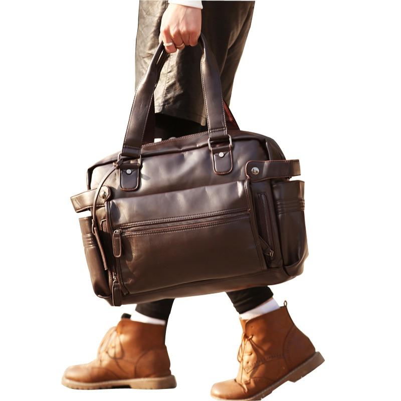 New Men Handbags Casual PU Leather Male Travel Bags Large Capacity Men Shoulder Bag Travel Duffle PT1148