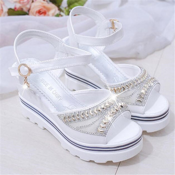 New wedge with female sandals fish mouth buckle flat bottom platform waterproof thick cake womens shoes