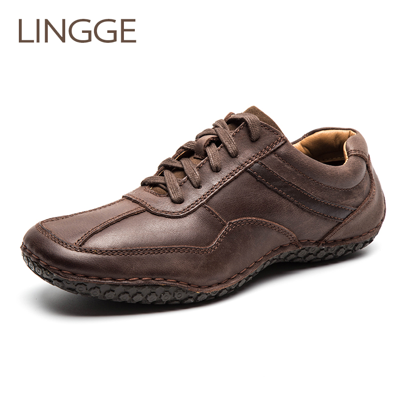 LINGGE Brand Men Shoes Genuine Leather Lace Up Men Shoes Rubber Sole Non Slip Casual Shoe
