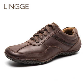 LINGGE Brand Men Shoes Genuine Leather Lace-Up Men Shoes Rubber Sole Non-Slip Casual Shoe Men Daily Vintage Shoe Handmade - DISCOUNT ITEM  45% OFF All Category