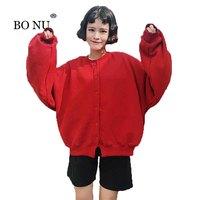 BONU Coton Collège Harajuku BF Femelle Bomber Veste Lâche Lanterne Manches Manteau Femme Veste Haute Qualité Solide Manteau Femelle