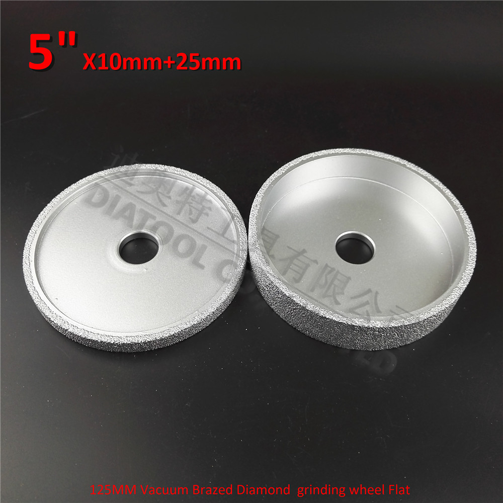 DIATOOL 1set Dia 125mmx10MM+25MM Vacuum Brazed Diamond Grinding Wheel Beveling Wheel 5 Diamond Grinding Wheel Flat 4 inch 6 inch straight cup diamond grinding wheel for glass edger straight line double edging beveling machine m009
