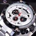 Forsining  2019  дизайнерские спортивные мужские наручные часы с тремя циферблатами  в Военном Стиле  серебристые  из нержавеющей стали  мужские ав...