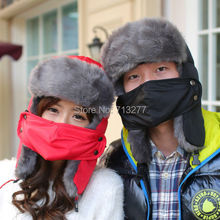 Russian Women Men Winter Mask Trapper Hat Outdoor Thick Fur Cap Earflap Warm Snow Ski Cap Multifunction Bomber Hat Winter Cap