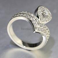 Кольцо из стерлингового серебра 925 женский груша сердце форма diamant обручальное кольцо любовника День Святого Валентина (JSA)