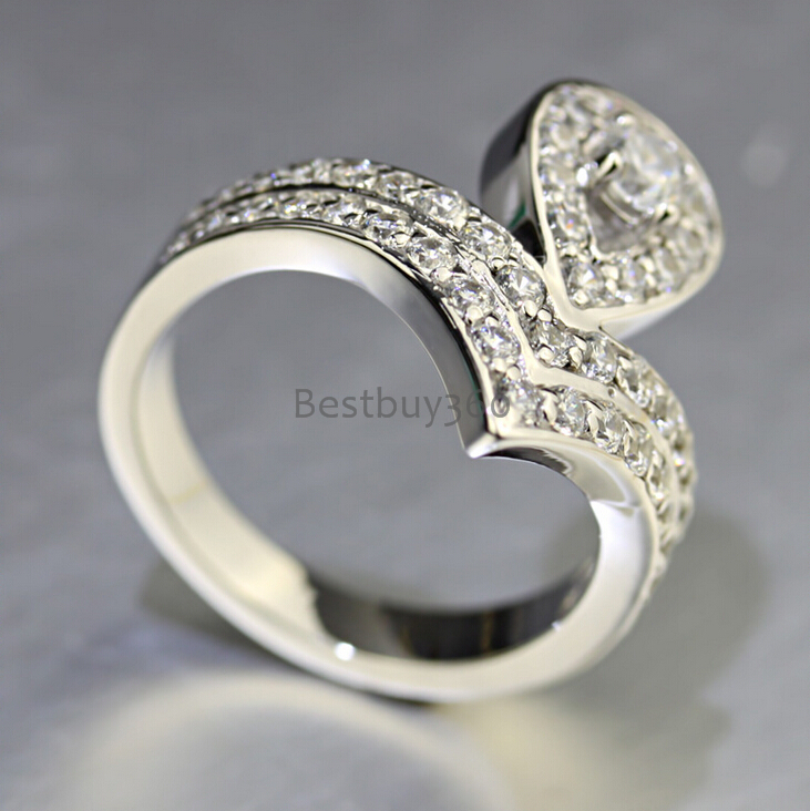 925 sterling silver ring female pear heart shape diamant wedding ring lover ring Valentine's day (JSA) 0 5ct 3 prongs 925 sterling silver ring sona diamant ring female heart gold plated ring love letter engrave ring yd