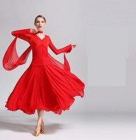 Chiffon Long Sleeves Standard Competition Ballroom Dance Dress For women One Piece Adult Modern/Waltz/Latin Dancing/Dancewear