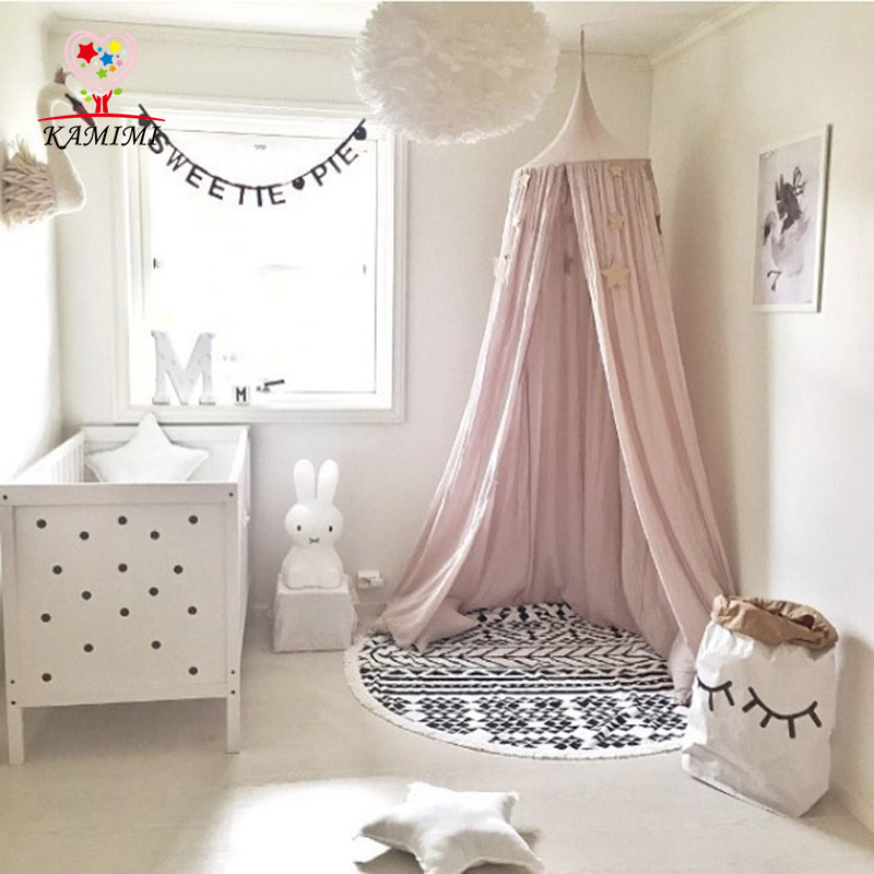 KAMIMI children room decoration dome bed curtain baby tent cotton girls boys Hung Dome Mosquito Net photography props statue