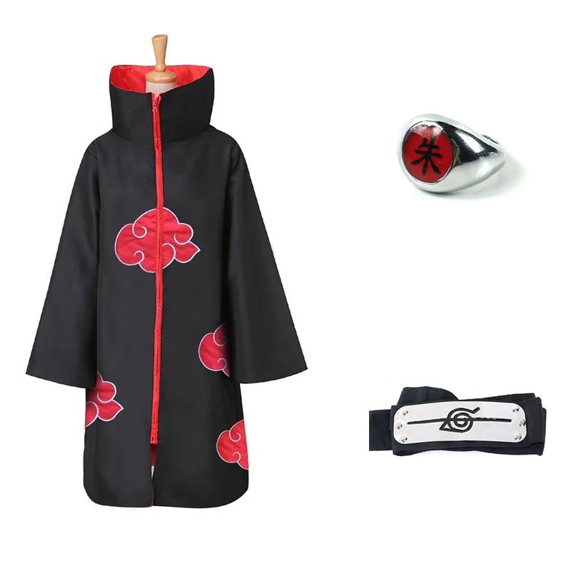 Anime NARUTO Akatsuki Uchiha Itachi Cosplay Costume Trench Cloak Robe Ninja Coat Set Ring Headband Halloween