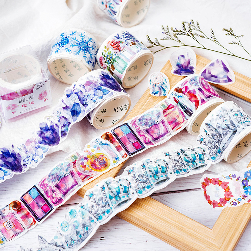 Snow World Flowers Washi Tape Decorative Floral Adhesive Tape Diy Scrapbooking Sticker Label Stationery School Office Supply