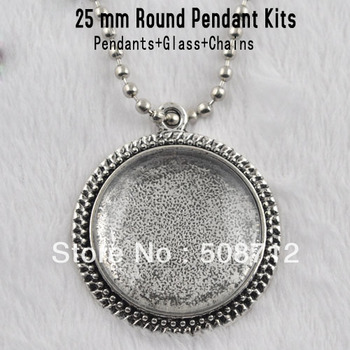 ¡Envío GRATUITO! Diy aleación colgante vintage 25mm plata antigua círculo inferior + vidrio + 75 cm cadena de bolas