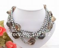 5 strands Black Pearl Natural Smoky Crystal Necklace