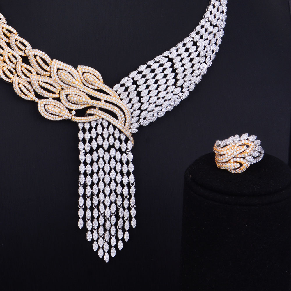 Image 4 - GODKI Luxury Tassels Drop Mixed Women Wedding Cubic Zirconia Necklace Earring Saudi Arabia Jewelry Set Jewellery AddictionJewelry Sets   -