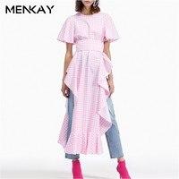 [MENKAY] Plaid Dress Female Short Sleeve Tunic High Waist Ruffles Split Long Party Dresses Summer Fashion Women Sweet New