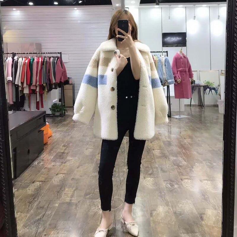 Nova moda preço real casaco de pele 2019 mulheres de inverno estilo do Teste padrão longo parka verdadeira pele gola turn dwon jaqueta casacos cor de rosa - 3