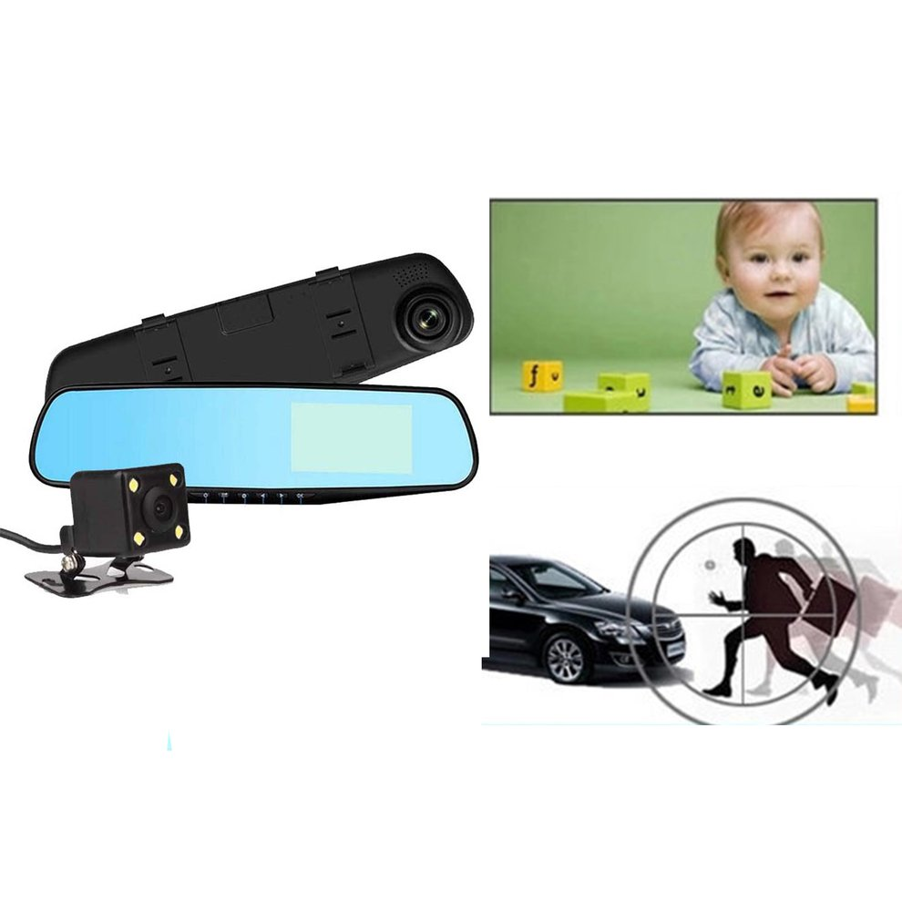 Cámara de seguridad 4,3 espejo Dash Cam 1080 p pantalla táctil delantera y trasera Dual de la lente del coche Cámara impermeable trasera ver Revers de la cámara