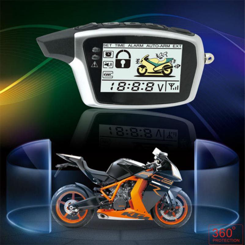 Original OEM SPY 5000m Two Way Anti-theft Motorcycle Security Alarm System With 2  LCD Transmitters Remote Engine Start