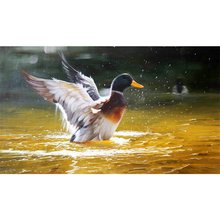 100% Hand painted Golden realistic duck Art Painting On Canvas Wall Adornment picture For Live Room Home Decor