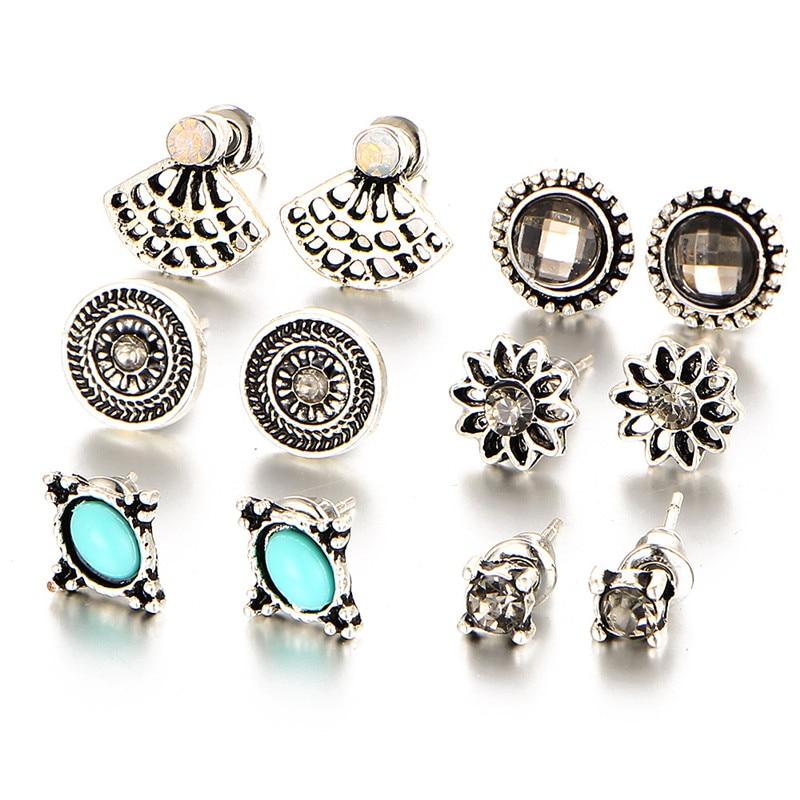 Новый Ретро более пар 6 пар уха ногтей Комплект комбинация уха ювелирный полированного сектора Стад набор