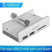 ORICO Clip-type USB3.0 HUB with Card Reader Aluminum 5Gbps High Speed 3 Ports USB Splitter For SD PC Computer Accessories Laptop цена и фото