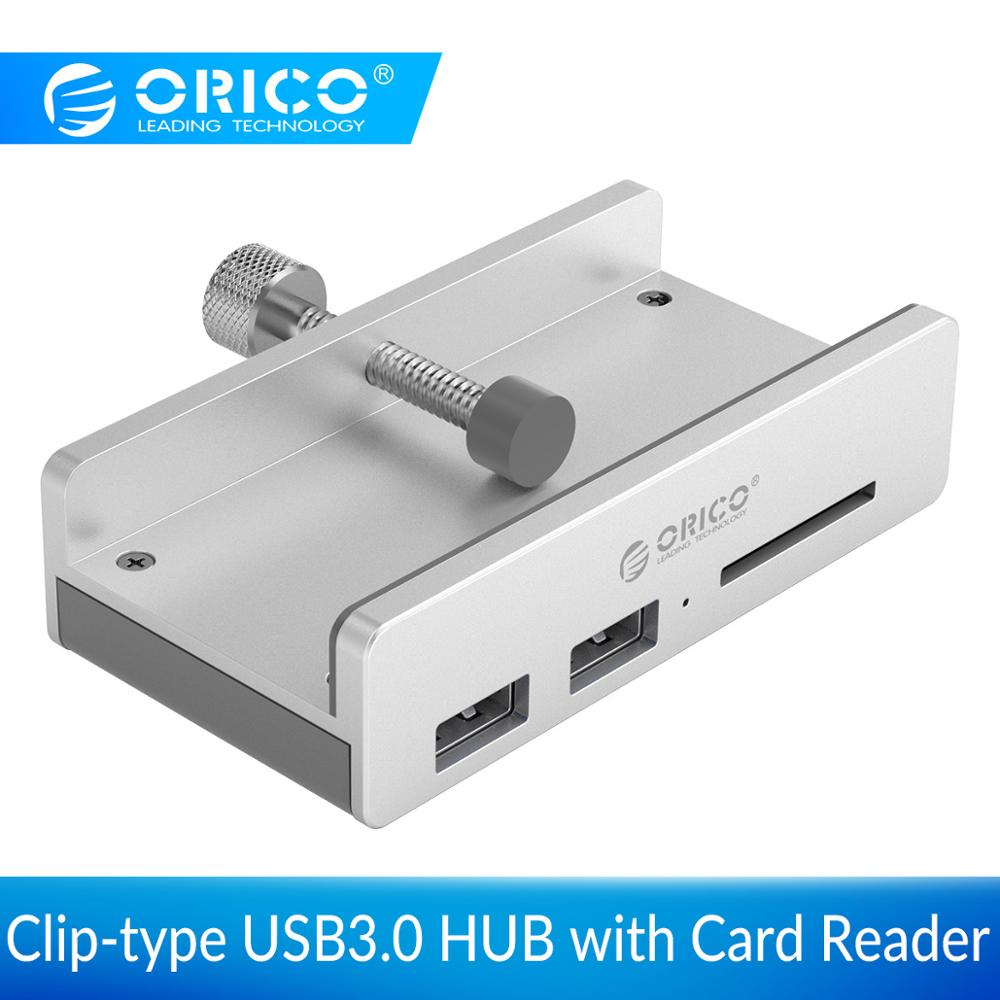 ORICO Clip-type USB3.0 HUB with Card Reader Aluminum 5Gbps High Speed 3 Ports USB Splitter For SD PC Computer Accessories Laptop
