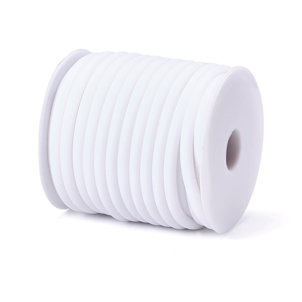 Pandahall Silicone Cord, Hollow, Wrapped Around White Plastic Spool, White, 5mm, Hole: 3mm; about 10m/roll