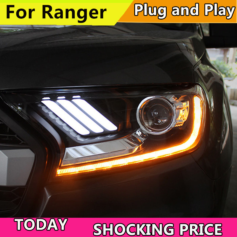 Car Styling TUZ for Ford Everest Ranger Headlights 2016-2018 Dynamic Turn Signal LED Headlight DRL Hid Bi Xenon Auto Accessories car styling for mitsubishi pajero headlights 2000 2012 pajero v73 led headlight drl turn signal drl h7 hid bi xenon lens