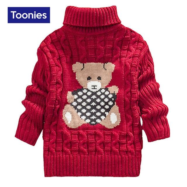 2016 Winter New Fashion Turtleneck Boys Girls Sweater Cute Cartoon Baby Sweater Outwear Sweaters Long Sleeved Pull Enfant Garcon