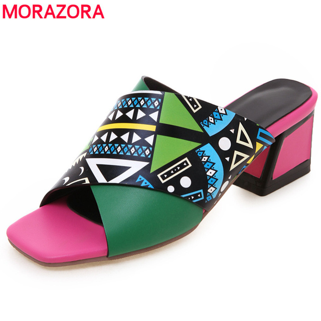 MORAZORA 2019 new arrival phụ nữ dép trượt trên đôi giày mùa hè bãi biển pha lê dép phong cách Bohemian giản dị giày nêm người phụ nữ