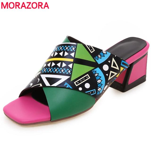 MORAZORA 2019 yeni varış kadın sandalet yaz ayakkabı kayma kristal plaj sandaletleri Bohem tarzı rahat kama ayakkabı kadın