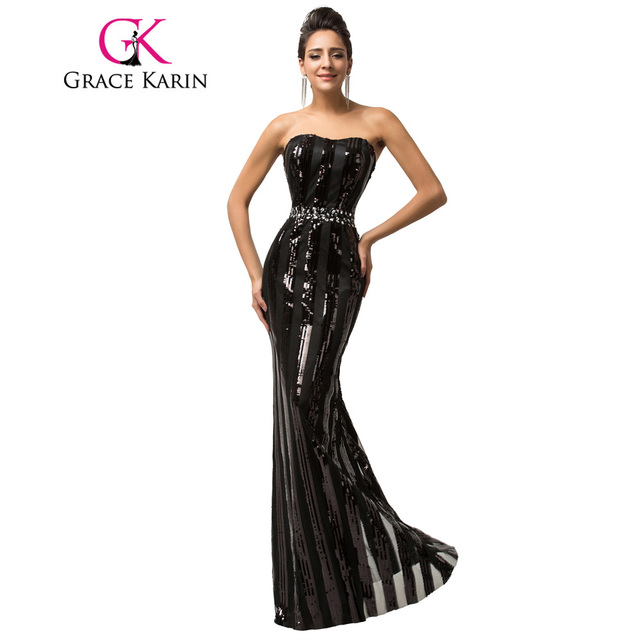 Ben noto Grazia Karin Nero Vestiti Da Sera Lungo Elegante Paillettes  GP89