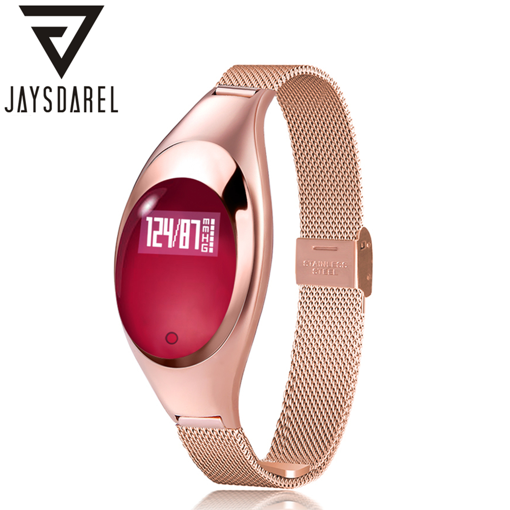 JAYSDAREL Z18 Ladies Elegant Heart Rate Monitor Smart Watch Women Fashion Blood Pressure Fitness Tracker for Android iOS jaysdarel heart rate blood pressure monitor smart watch no 1 gs8 sim card sms call bluetooth smart wristwatch for android ios