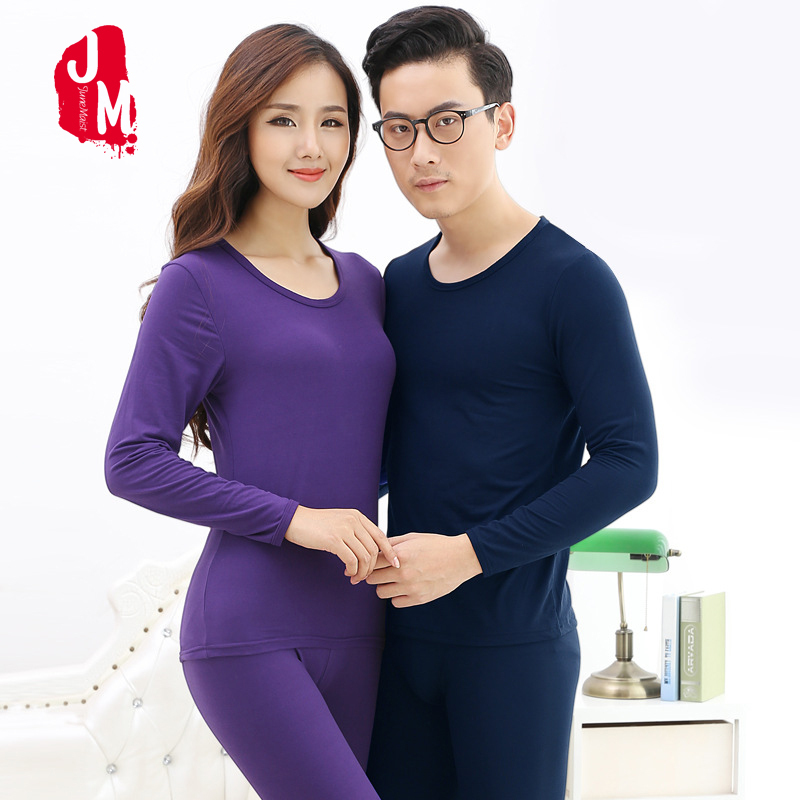 Autumn Winter Couple Long Johns Solid Lovers Pajama Suit Warm Thermal Underwear For Men Plus Size Women Thermo Underwear Sets