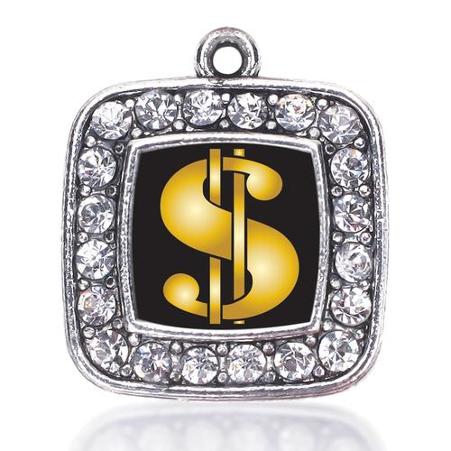 DOLLAR SIGN SQUARE CHARM antique silver plated jewelry