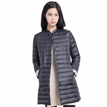 Women Down Jacket 2016 New Autumn Winter Long Down Jackets Coats Chic Collarless Single Breasted Solid Color Women Coat Parkas
