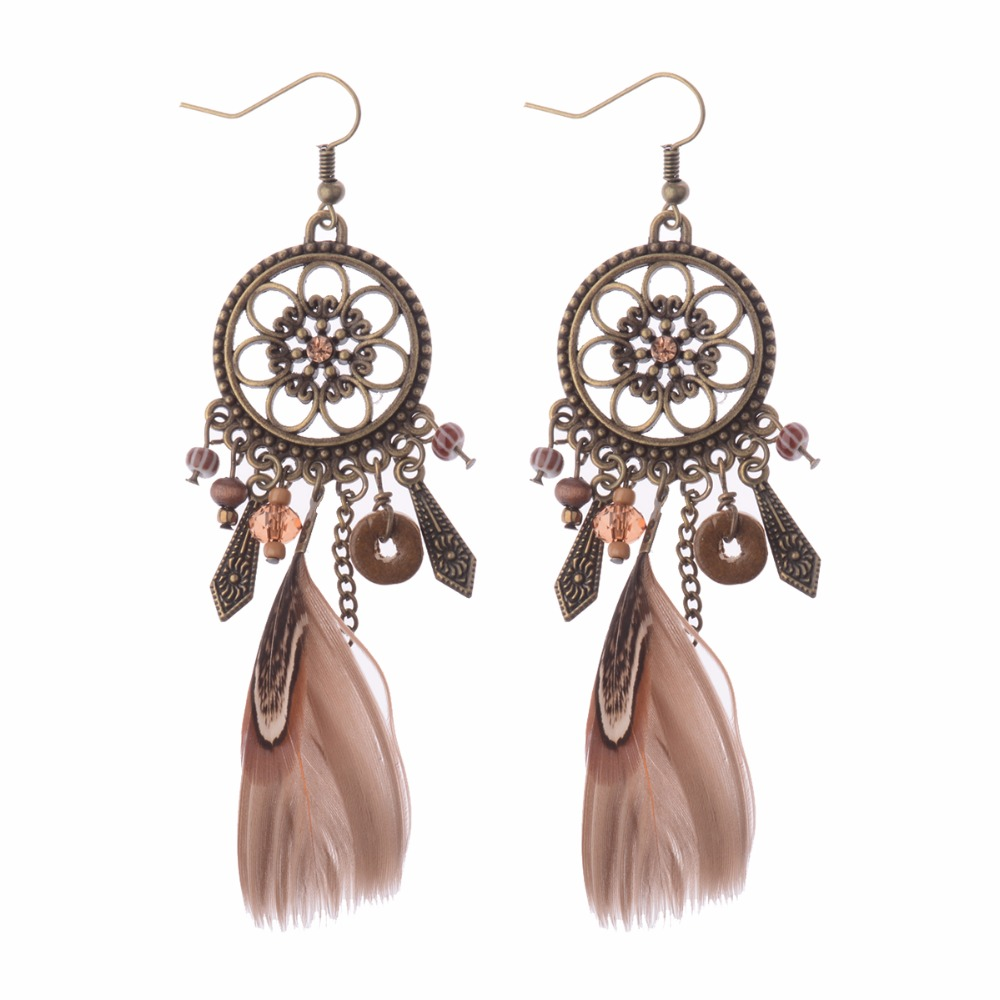 Retro Dreamcatcher Shaped Feather Pendant Tassels Earrings Ethnic Style  Feather Earrings Hqe423(china (mainland