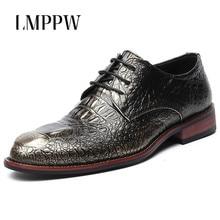 купить British Men's Leather Shoes Business Dress Oxford Shoes Crocodile Pattern Men Luxury Formal Shoes Fashion Wedding Party Shoes 2A онлайн